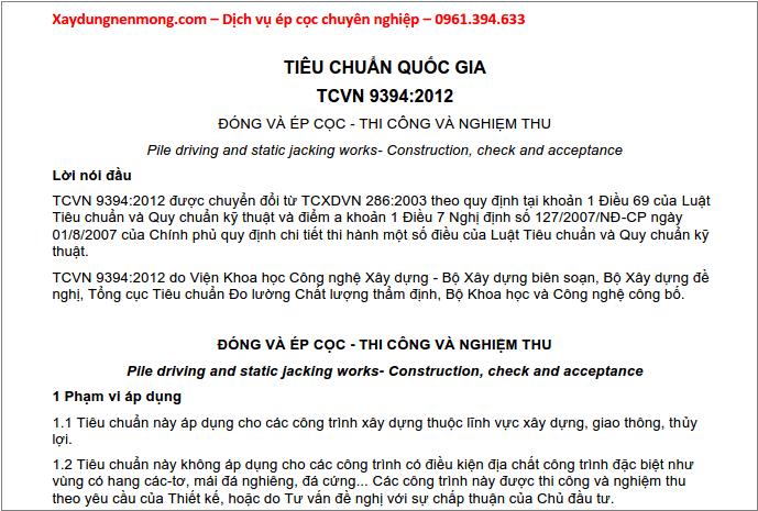 TCVN 9394:2012 - Đóng và ép cọc - Thi công và nghiệm thu