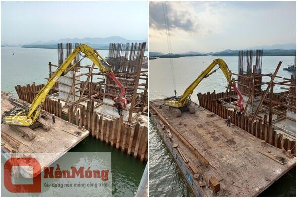 Máy xúc SK460 lắp búa PCF350 đóng nhổ cừ tại cầu Tiên Yên 1- Quảng Ninh