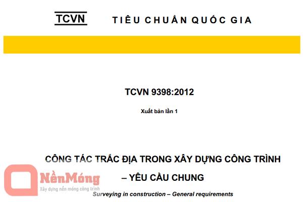 Tiêu chuẩn Việt Nam TCVN 9398:2012 về công tác trắc địa trong xây dựng