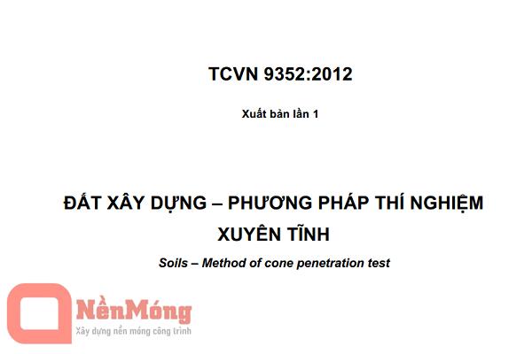 TCVN 9352:2012 Đất xây dựng - Phương pháp thí nghiệm xuyên tĩnh